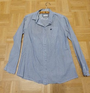 Basefield Oversized blouse staalblauw-wit