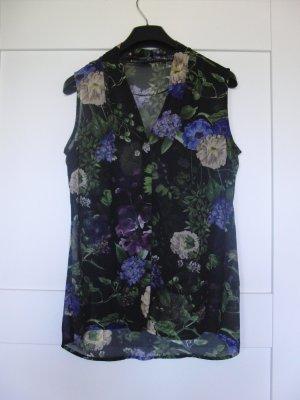 Schöne Bluse von Esprit - ärmellos - mit Blumendruck - schwarz-bunt Gr. 36- WIE NEU