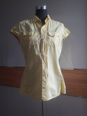 G-Star Bluzka w kratę jasnożółty-żółty