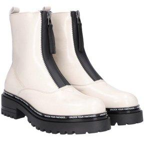 Alpe Woman Botas de tobillo blanco puro-negro Cuero