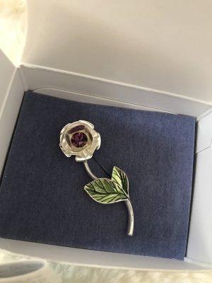Schöne Brosche * Anstecknadel * versilberte Rose mit Strass * Neu im Originalkarton