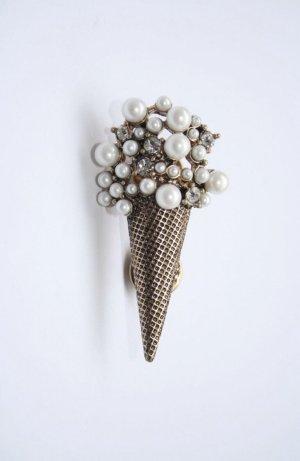 Schöne Brosche bronze Metall gold weiß Perlen Eis ice Cream Unisex Dessert edel
