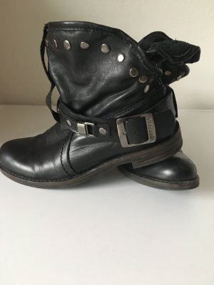 Buffalo London Booties black-silver-colored leather