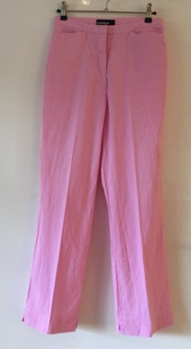 Cambio High Waist Trousers white-neon pink cotton