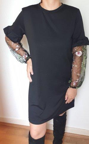 Schöne casual Kleid mit bestickte transparente Ärmel