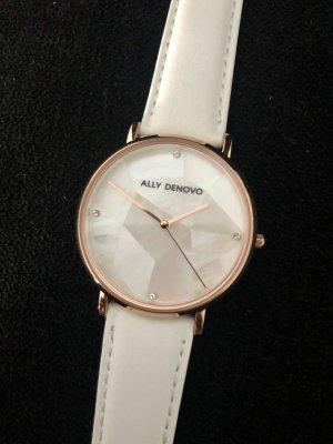 Montre avec bracelet en cuir blanc-or rose
