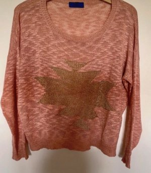Made in Italy Top en maille crochet or rose-vieux rose