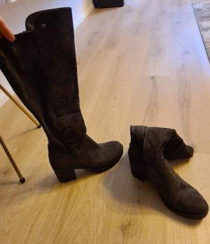 Deichmann Heel Boots silver-colored mixture fibre