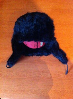 Futrzana czapka czarny Skóra
