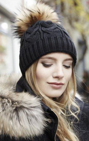 Pavuna Sombrero de piel negro