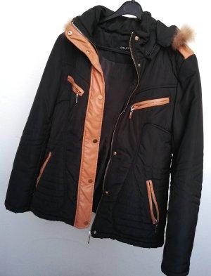 Schöne Faux Fur Pelz Winterjacke Schwarz Größe M