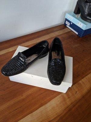 Schöne geflochtene Leder Mocassins in schwarz