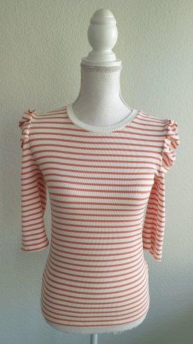 Schöne gerippte 3/4 Ärmel Shirt mit Puffärmel