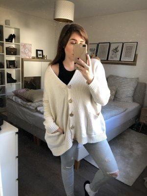 Zara Veste tricotée en grosses mailles blanc cassé-doré