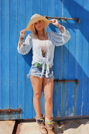 Knitted Wrap Cardigan light blue