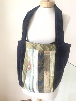 Handmade Bolso de tela multicolor tejido mezclado