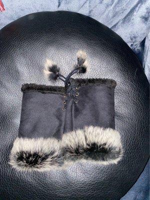 100% Fashion Rękawiczki z imitacji skóry czarny