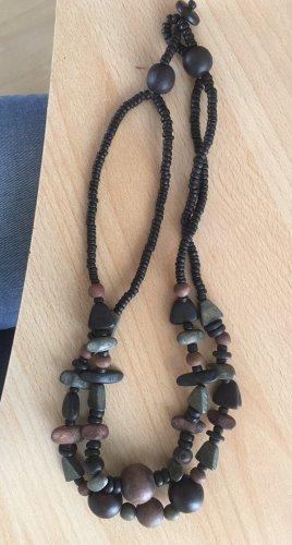 Collana di perle multicolore Legno
