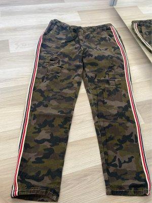 SheIn Pantalone kaki rosso scuro-grigio-verde