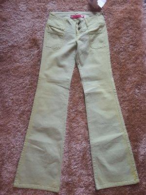Guess Jeans Broek met wijd uitlopende pijpen lichtgroen