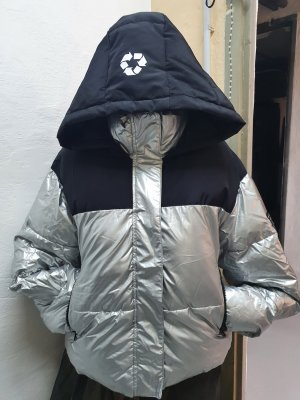 Zara Kurtka zimowa czarny-srebrny