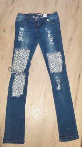 bellis Jeans vita bassa bianco-blu acciaio