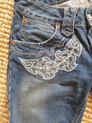 Herrlicher Spodnie z pięcioma kieszeniami stalowy niebieski Bawełna