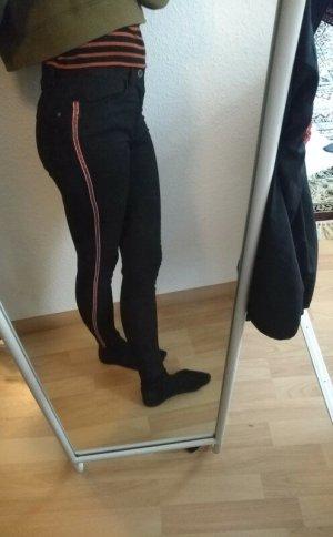 Zara Trafaluc Drainpipe Trousers black-red mixture fibre