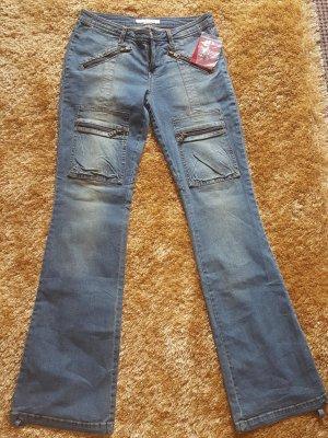 Guess Jeans Broek met wijd uitlopende pijpen korenblauw