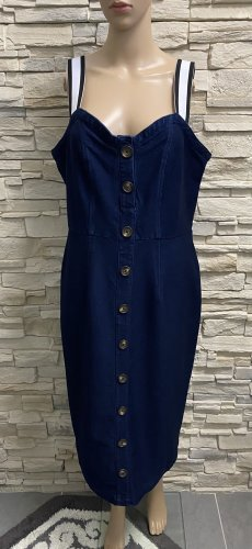Simple Denim Dress dark blue-white