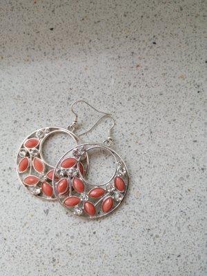 Srebrne kolczyki srebrny-brzoskwiniowy Metal