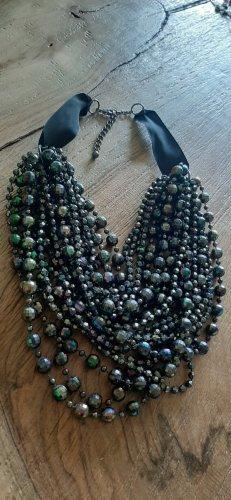 schöne kette anthrazit mehrfarbige Perlen