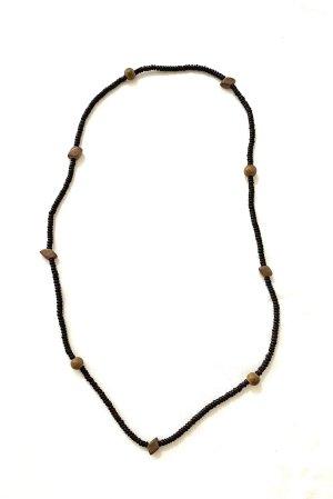 Vintage Naszyjnik czarny-jasnobrązowy