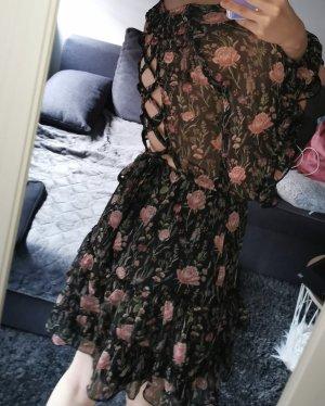 H&M Szyfonowa sukienka czarny-różowy