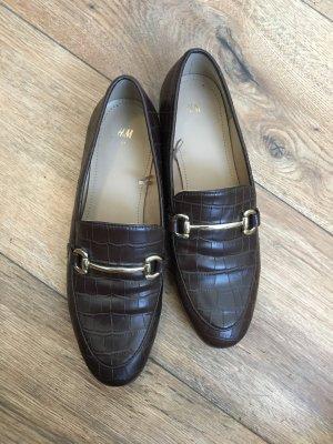 schöne krokodillederoptik halbschuhe loafer 37