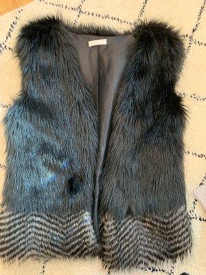 Promod Fur vest black-grey
