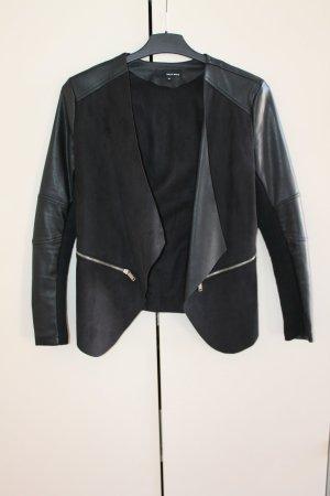 Tally Weijl Blazer de cuero negro-color plata