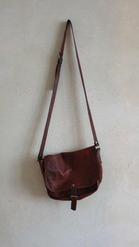 Schöne Lederhandtasche in Rotbraun // Vintage