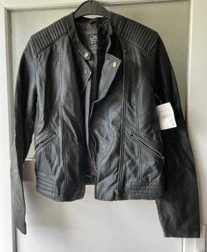 Clockhouse Skórzana kurtka czarny-srebrny