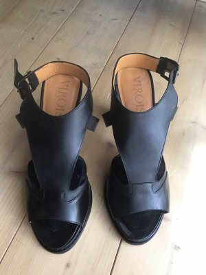 Sandalias de tacón con plataforma negro Cuero
