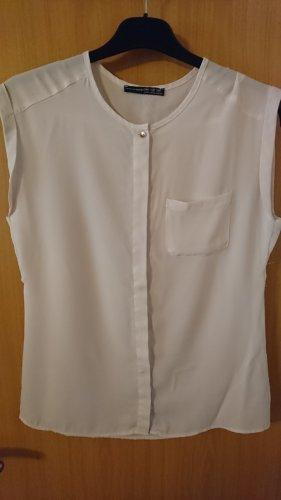 Schöne leichte oversized weiße ärmellose Bluse
