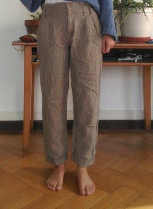 Mac Pantalon en lin gris brun lin