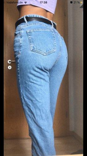 Zara Jeansy typu boyfriend stalowy niebieski