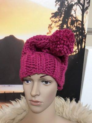 Handmade Cappello con pon pon multicolore Acrilico