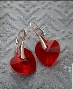 Ohrringe mit Swarovski Steinen Orecchino a pendente argento-rosso