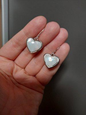 Orecchino a pendente argento-bianco