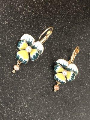 Schöne Ohrringe Blume Emaille Glasur Stiefmütterchen echte Perle
