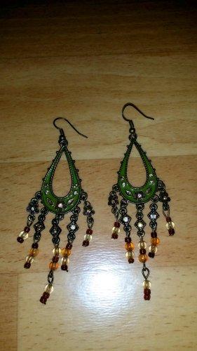 schöne Ohrringe in grün-braun Modeschmuck