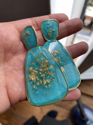 Zdobione kolczyki turkusowy-złoto