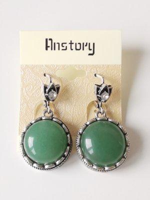 Pearl Earring silver-colored-dark green